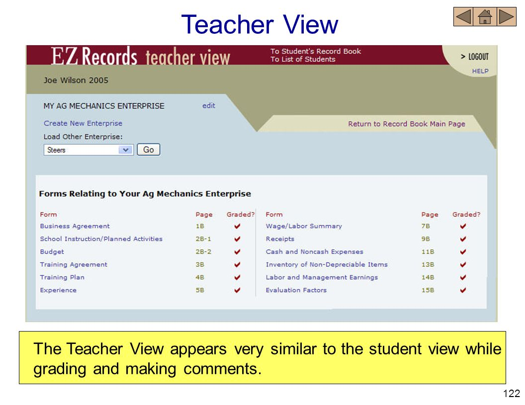 Teacher View The Teacher View appears very similar to the student view while grading and making comments.