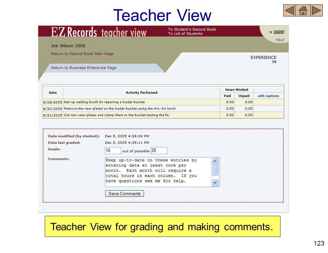 Teacher View Teacher View for grading and making comments. 123