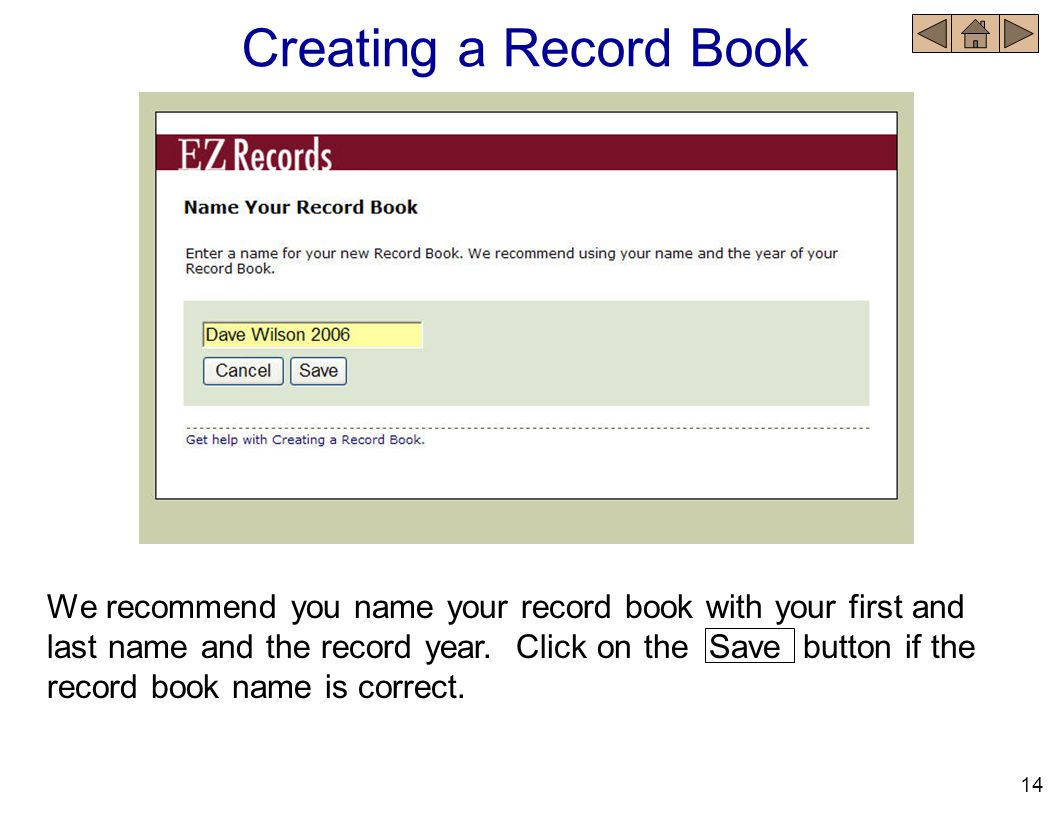 Creating a Record Book