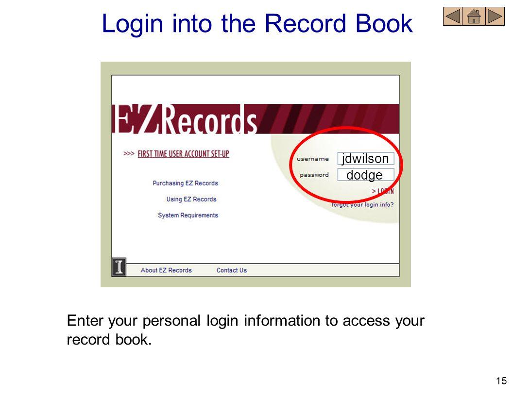 Login into the Record Book