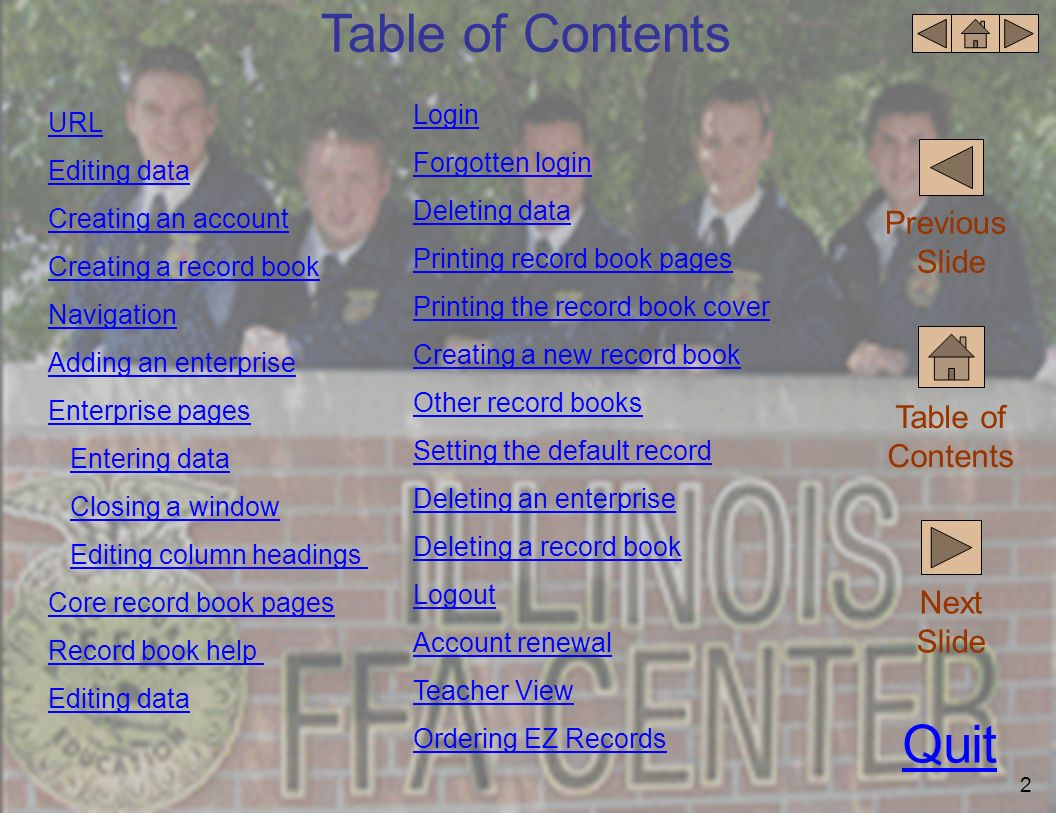Table of Contents Quit Previous Slide Table of Contents Next Slide