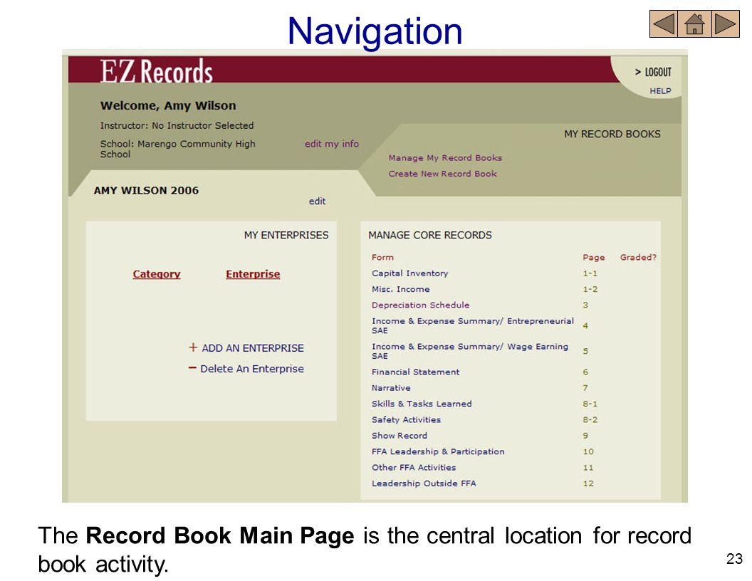 Navigation The Record Book Main Page is the central location for record book activity. 23