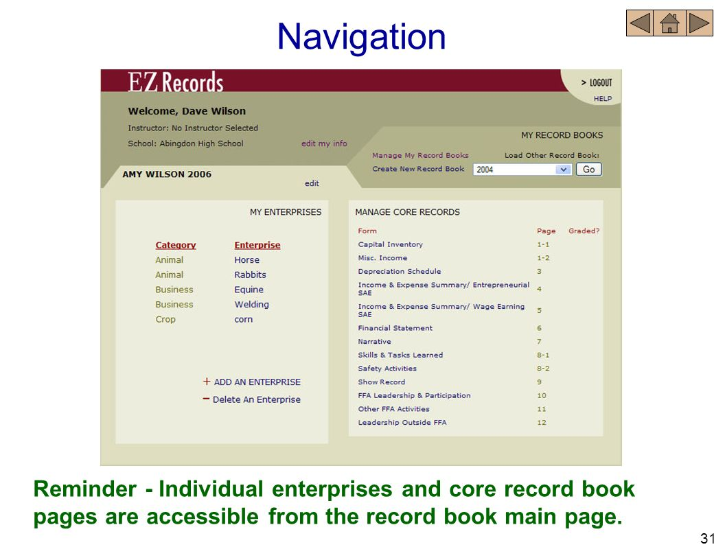 Navigation Reminder - Individual enterprises and core record book pages are accessible from the record book main page.