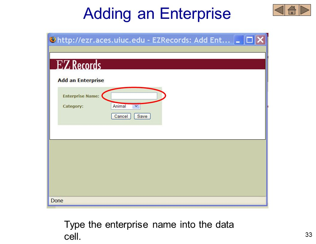 Adding an Enterprise Type the enterprise name into the data cell. 33