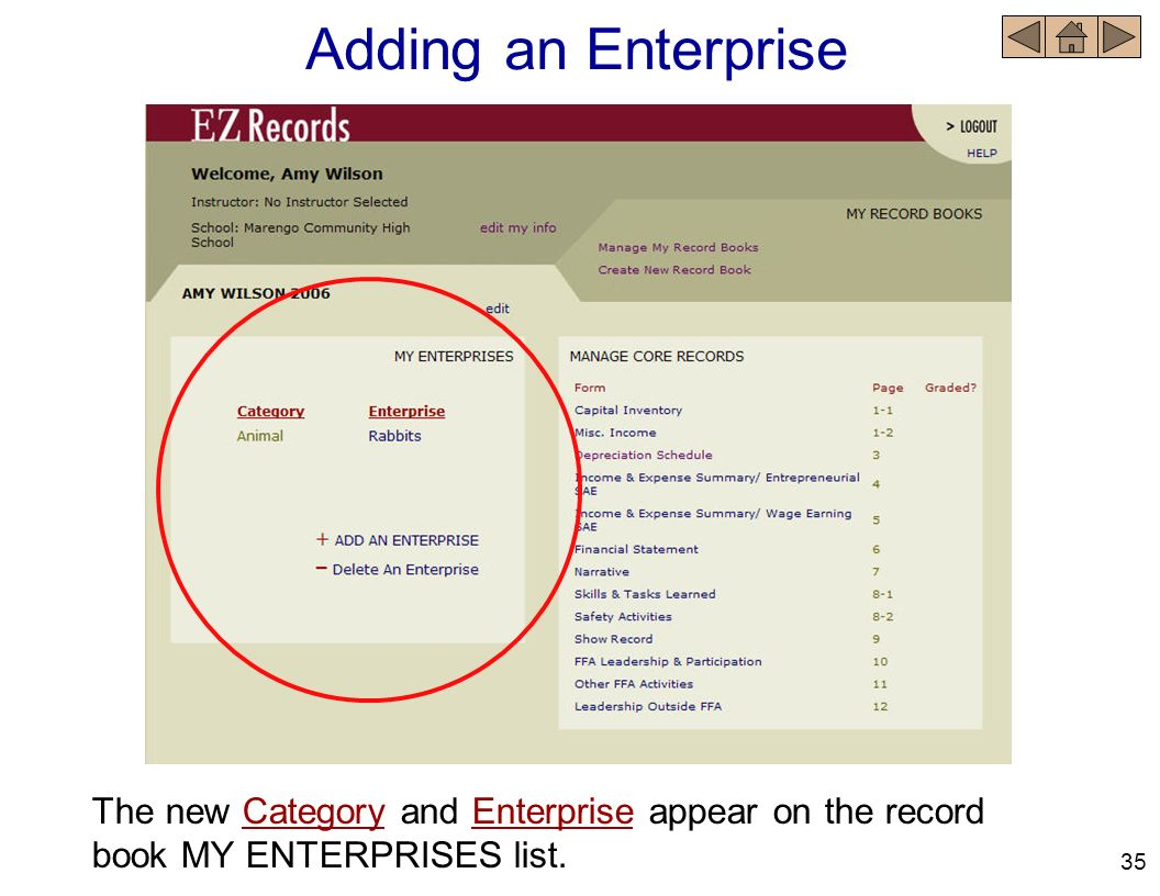 Adding an Enterprise The new Category and Enterprise appear on the record book MY ENTERPRISES list.