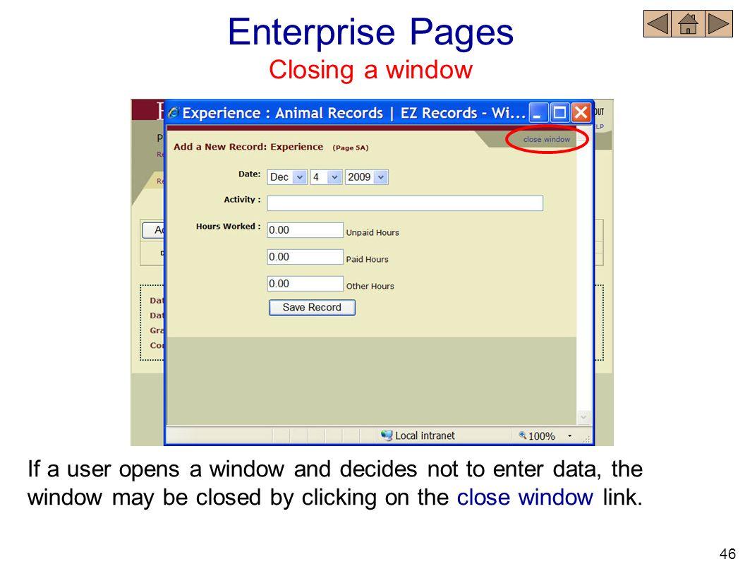 Enterprise Pages Closing a window