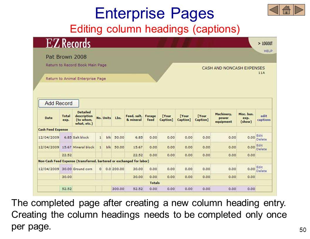 Editing column headings (captions)