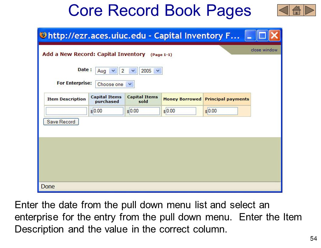 Core Record Book Pages