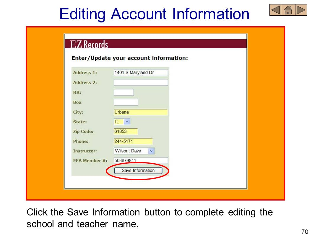 Editing Account Information