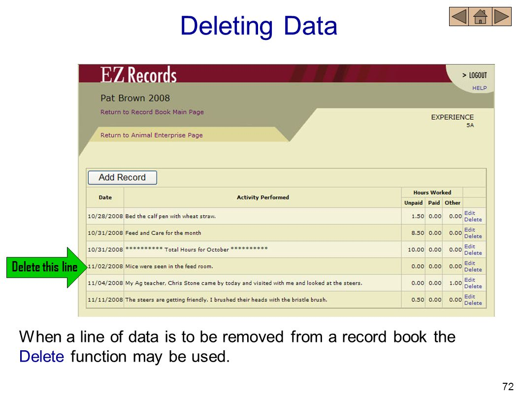 Deleting Data Delete this line. When a line of data is to be removed from a record book the Delete function may be used.