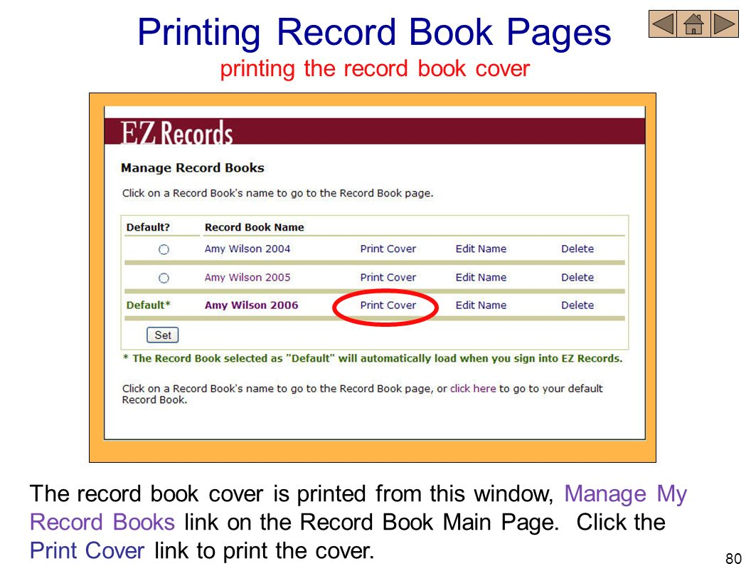 Printing Record Book Pages