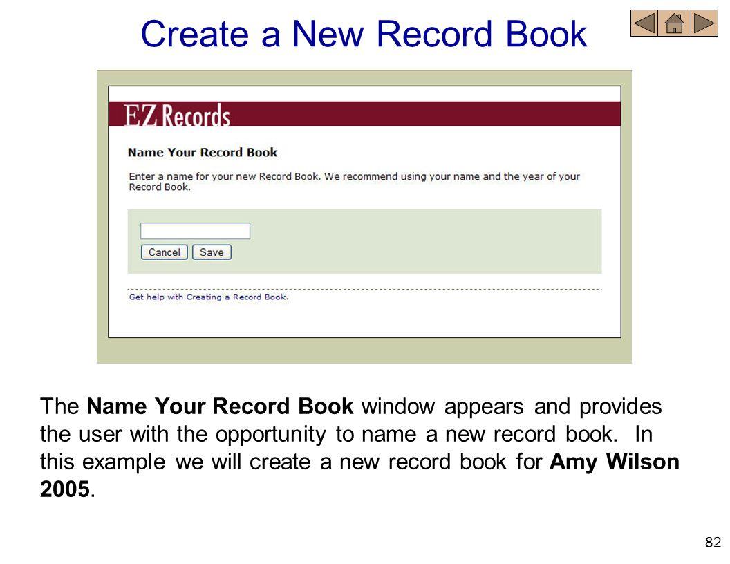 Create a New Record Book