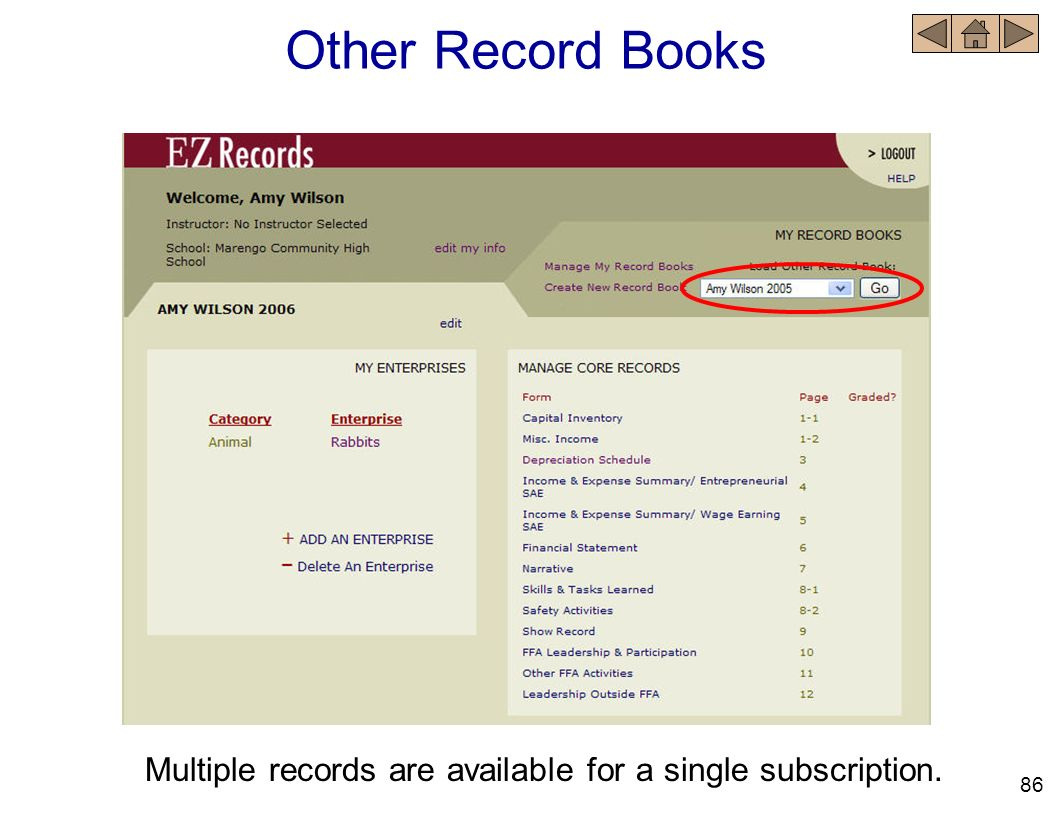 Other Record Books Multiple records are available for a single subscription. 86