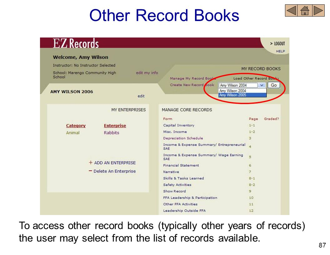 Other Record Books To access other record books (typically other years of records) the user may select from the list of records available.