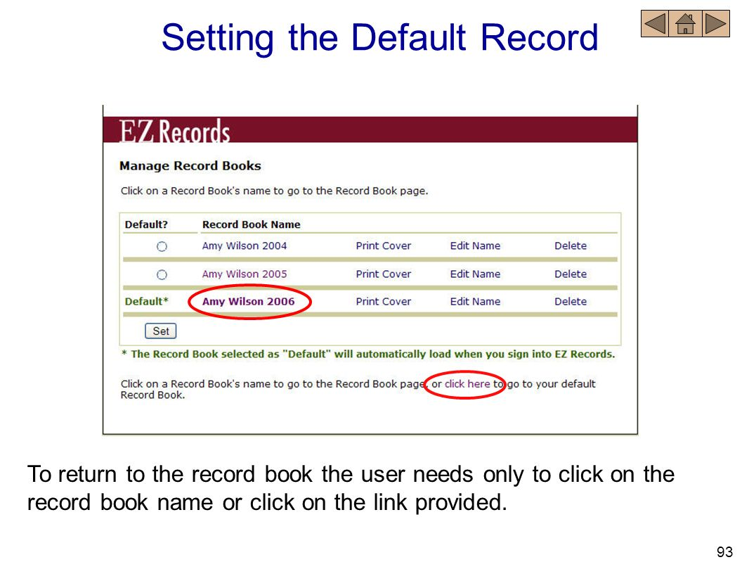 Setting the Default Record