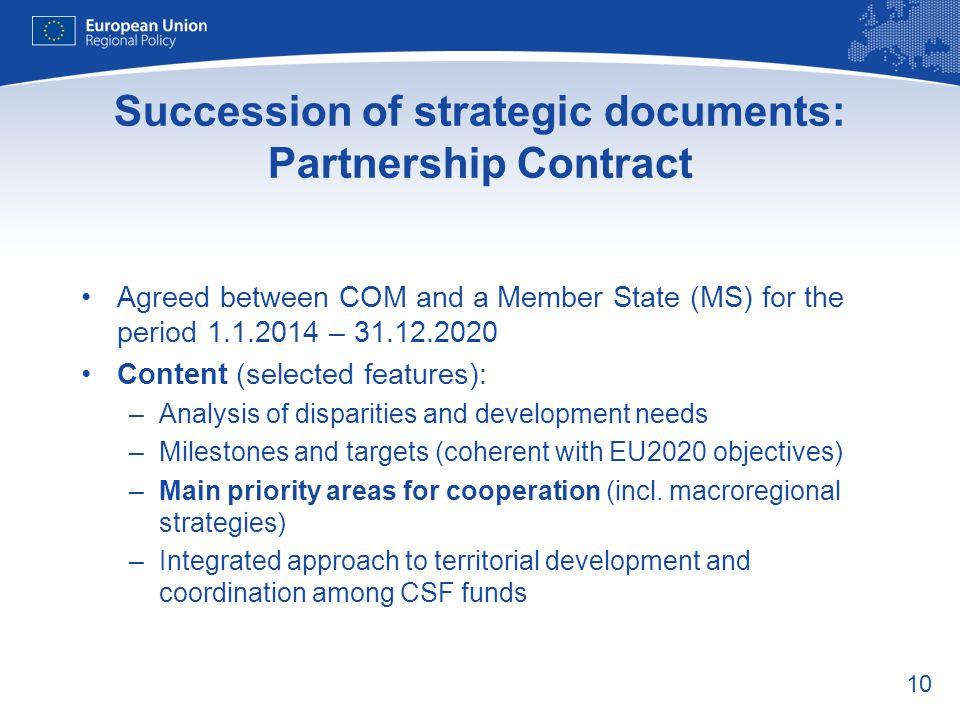 Succession of strategic documents: Partnership Contract