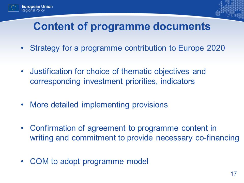 Content of programme documents