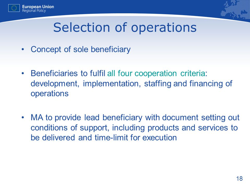 Selection of operations