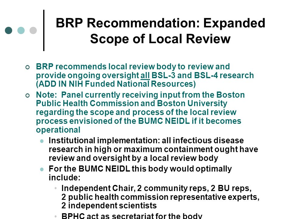 BRP Recommendation: Expanded Scope of Local Review