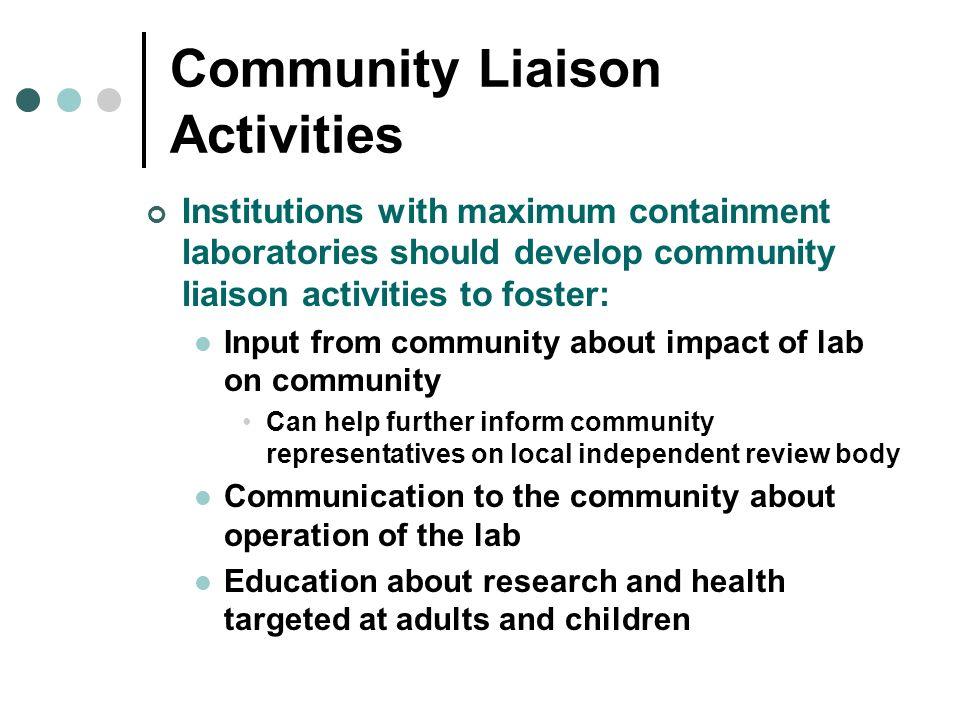 Community Liaison Activities
