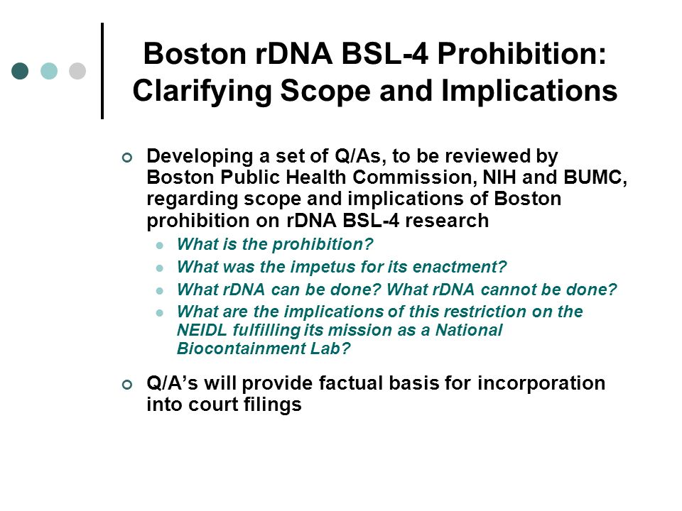 Boston rDNA BSL-4 Prohibition: Clarifying Scope and Implications