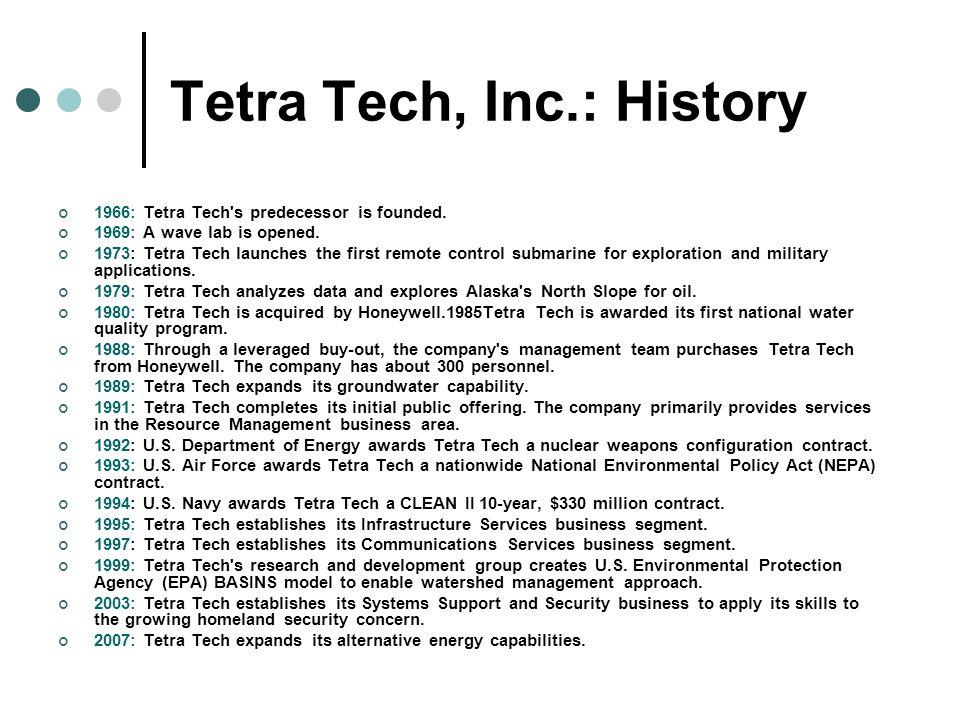 Tetra Tech, Inc.: History