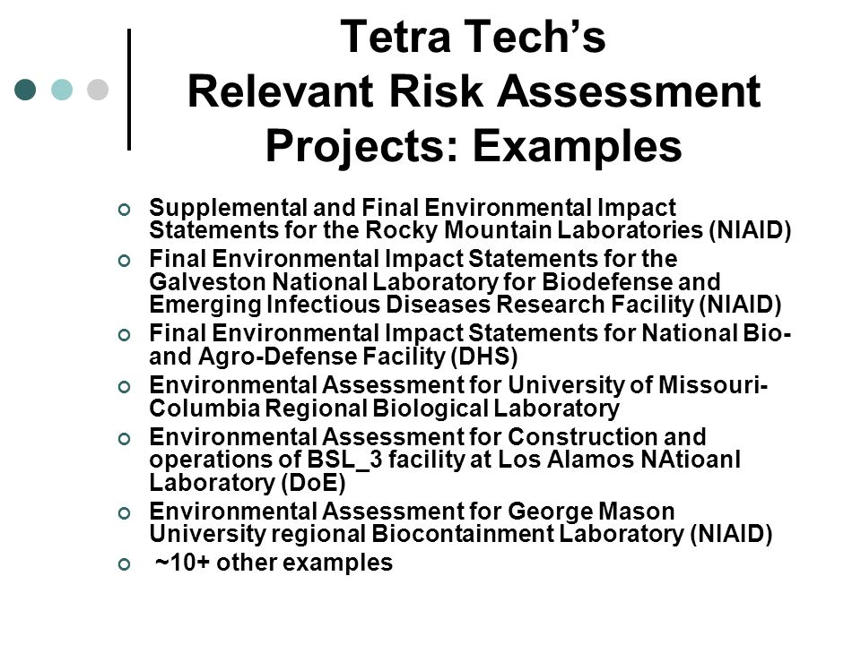 Tetra Tech's Relevant Risk Assessment Projects: Examples