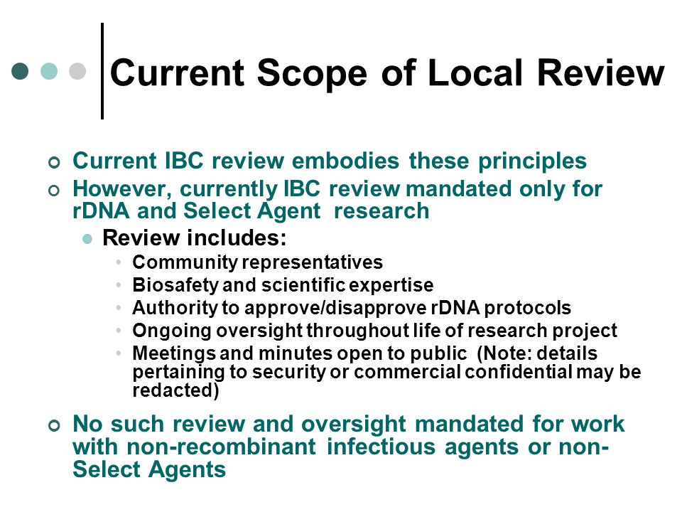 Current Scope of Local Review