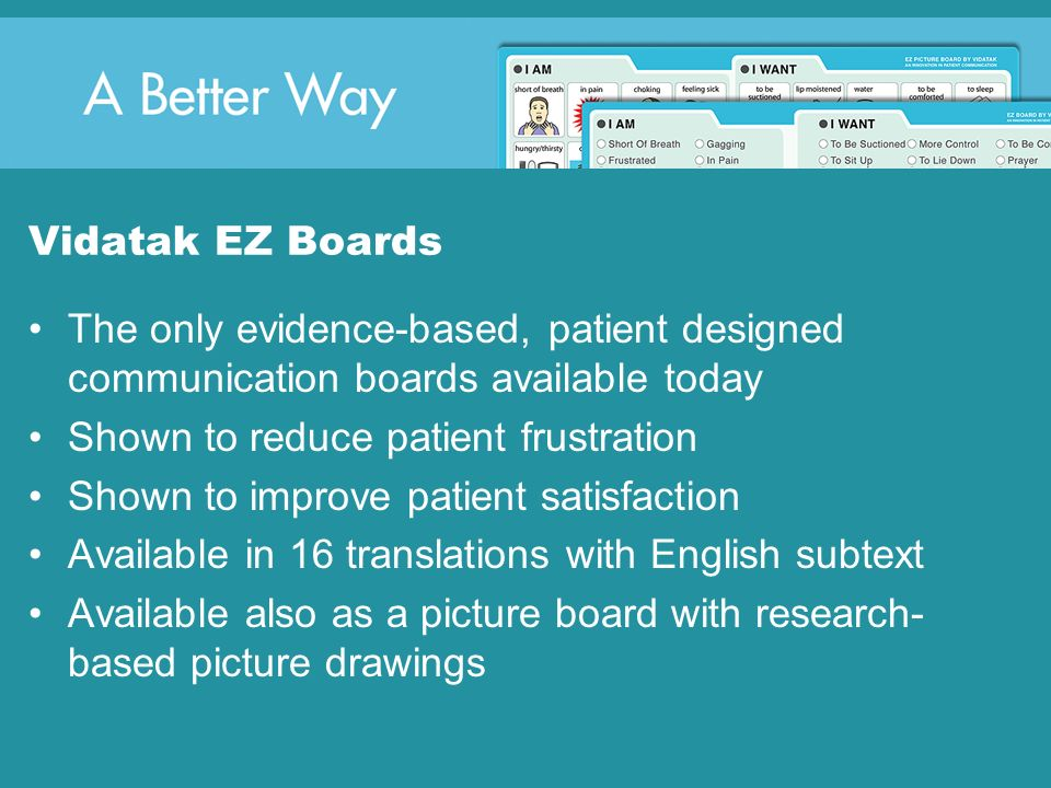 Vidatak EZ Boards The only evidence-based, patient designed communication boards available today. Shown to reduce patient frustration.
