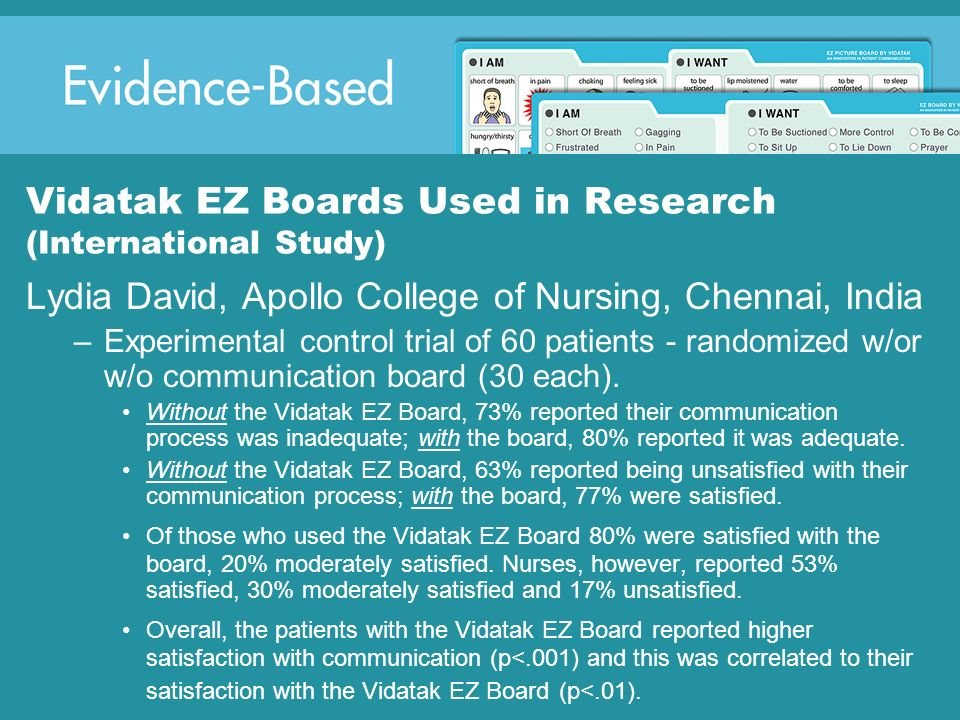 Vidatak EZ Boards Used in Research (International Study)