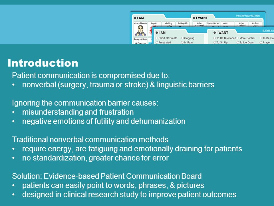 Introduction Patient communication is compromised due to: