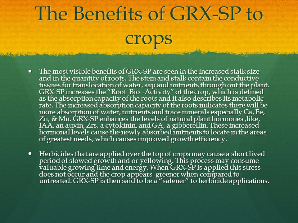 The Benefits of GRX-SP to crops