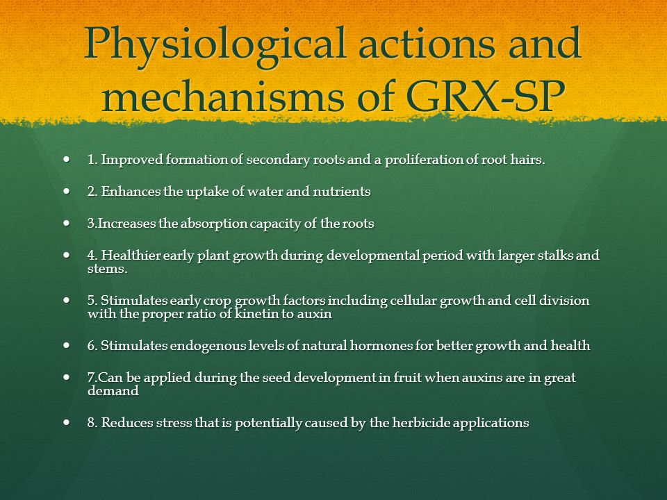 Physiological actions and mechanisms of GRX-SP