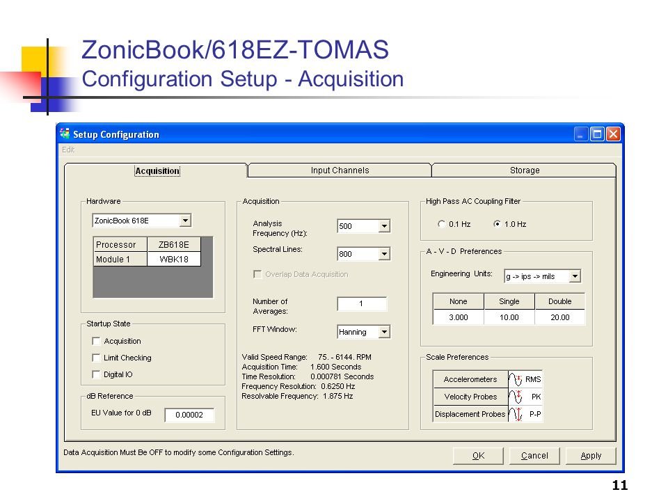 ZonicBook/618EZ-TOMAS Configuration Setup - Acquisition