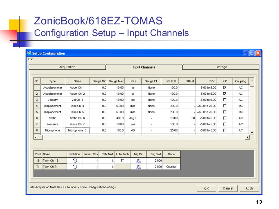 ZonicBook/618EZ-TOMAS Configuration Setup – Input Channels