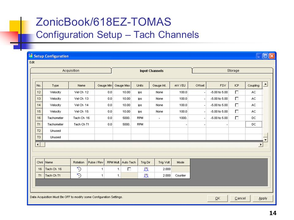 ZonicBook/618EZ-TOMAS Configuration Setup – Tach Channels