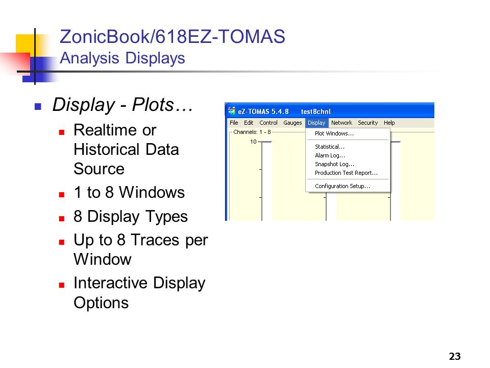 ZonicBook/618EZ-TOMAS Analysis Displays