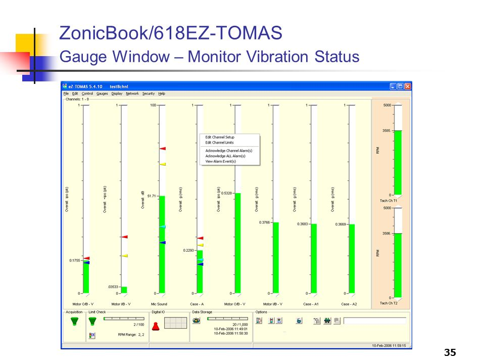 ZonicBook/618EZ-TOMAS Gauge Window – Monitor Vibration Status