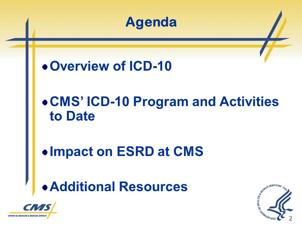 Agenda Overview of ICD-10. CMS' ICD-10 Program and Activities to Date.