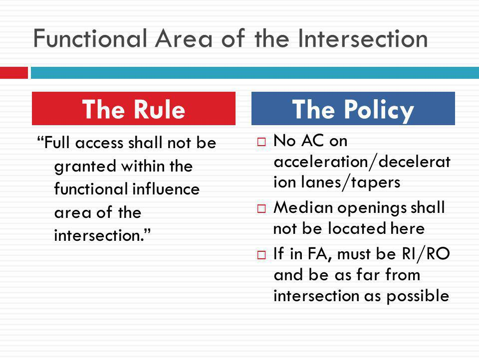 Functional Area of the Intersection