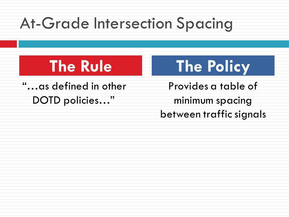 At-Grade Intersection Spacing