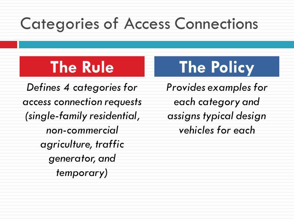 Categories of Access Connections
