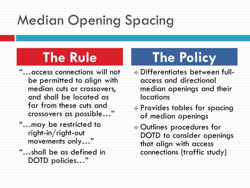 Median Opening Spacing