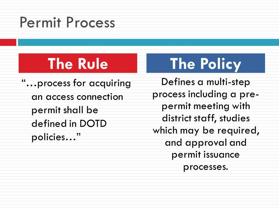 Permit Process The Rule The Policy