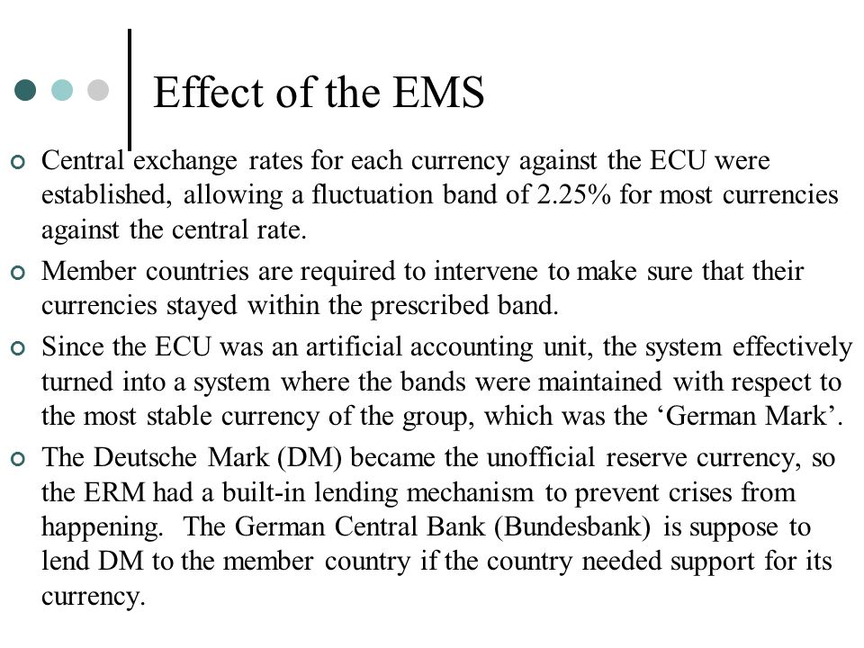 Effect of the EMS