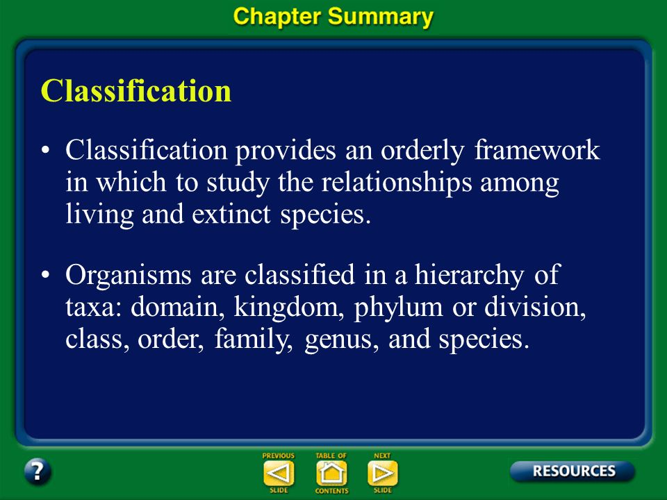Classification Classification provides an orderly framework in which to study the relationships among living and extinct species.