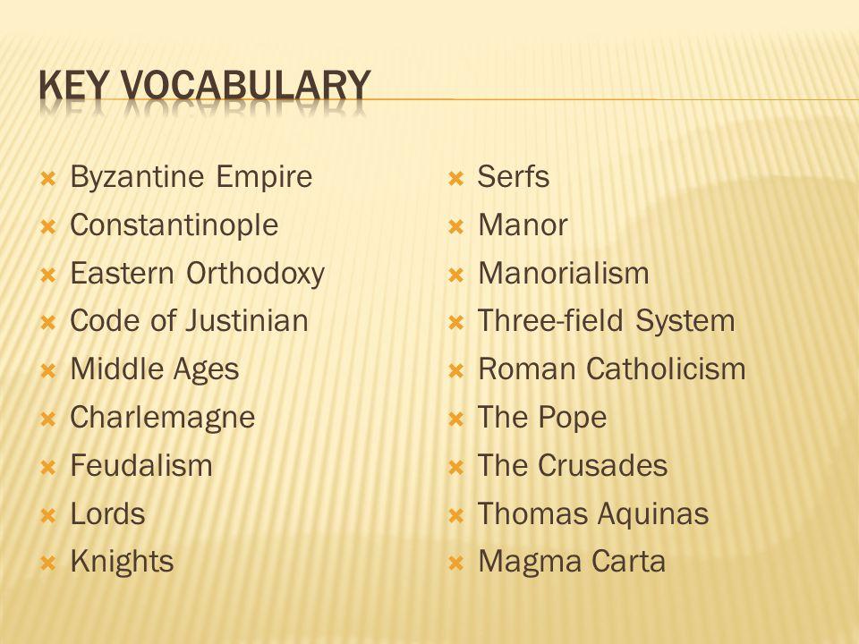 Key Vocabulary Byzantine Empire Constantinople Eastern Orthodoxy