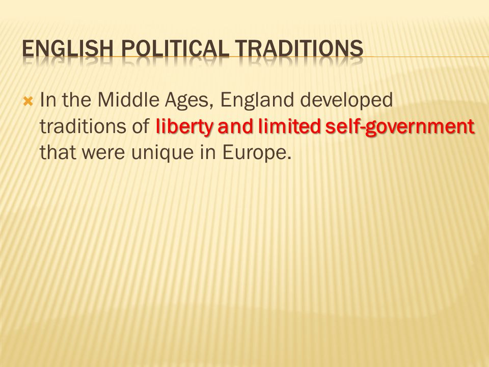 English Political Traditions