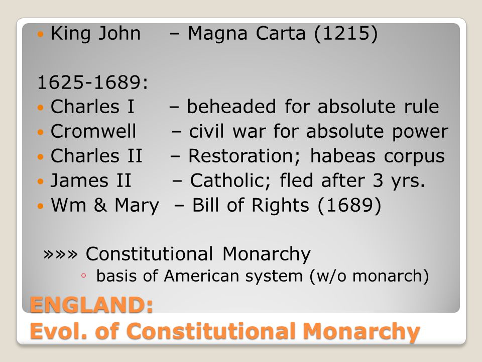 ENGLAND: Evol. of Constitutional Monarchy