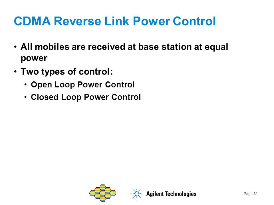 CDMA Reverse Link Power Control